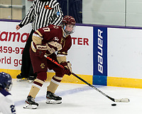 WORCESTER, MA - JANUARY 16: Willow Corson #27 of Boston College brings the puck forward during a game between Boston College and Holy Cross at Hart Center Rink on January 16, 2021 in Worcester, Massachusetts.
