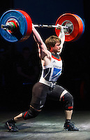 10 MAY 2014 - COVENTRY, GBR - Jack Oliver from the Paul Furness School of Weightlifting attempts to break the British clean and jerk record of 171kg in the men's 77kg category with a lift of 172kg at the British 2014 Senior Weightlifting Championships and final 2014 Commonwealth Games qualifying event round at the Ricoh Arena in Coventry, Great Britain. Oliver's combined total for the event of 312kg, 32kg over the qualifying standard, makes him eligible for selection for the England team for the Commonwealth Games in Glasgow (PHOTO COPYRIGHT © 2014 NIGEL FARROW, ALL RIGHTS RESERVED)