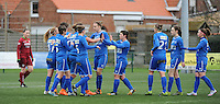 20160206 - Zulte , BELGIUM : Genk's players celebrating the opening goal pictured during the soccer match between the women teams of Zulte Waregem and Ladies Genk , in the quartel final matchday of the Belgian CUP - Beker van Belgie voor Vrouwen competition on Saturday 6th February 2016 in Zulte .  PHOTO SPORTPIX.BE DIRK VUYLSTEKE