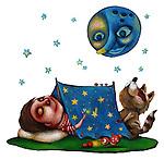 Illustrative image of boy sleeping in tent under moon representing fantasy