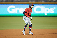 Luis Marte (8) of the Jacksonville Jumbo Shrimp takes his lead off of second base against the Durham Bulls at Durham Bulls Athletic Park on May 15, 2021 in Durham, North Carolina. (Brian Westerholt/Four Seam Images)