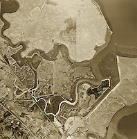 historical aerial photograph of Foster City, San Mateo County, California, 1946