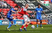 Paddy Madden of Fleetwood Town (centre) has his shirt pulled during the Sky Bet League 1 match between Fleetwood Town and Peterborough at Highbury Stadium, Fleetwood, England on 19 April 2019. Photo by Stefan Willoughby.