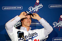 Zack Greinke is introduced as the newest member of the Los Angeles Dodgers during a press conference at Dodger Stadium in Los Angeles, California on December 11, 2012. (Larry Goren/Four Seam Images)