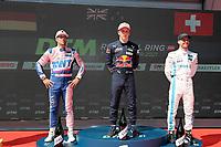 4th September 2021; Red Bull Ring, Spielberg, Austria; DTM  Race 1 at Spielberg;   Maximilian Goetz GER Mercedes-AMG Team HRT - Mercedes-AMG GT3, Liam Lawson NZ Red Bull AF Corse, Ferrari 488 GT3 Evo and Philip Ellis CH Mercedes-AMG Team WINWARD, Mercedes-AMG GT3