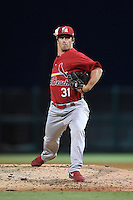 Palm Beach Cardinals pitcher Kyle Barraclough (31) delivers a pitch during a game against the Lakeland Flying Tigers on April 13, 2015 at Joker Marchant Stadium in Lakeland, Florida.  Palm Beach defeated Lakeland 4-0.  (Mike Janes/Four Seam Images)