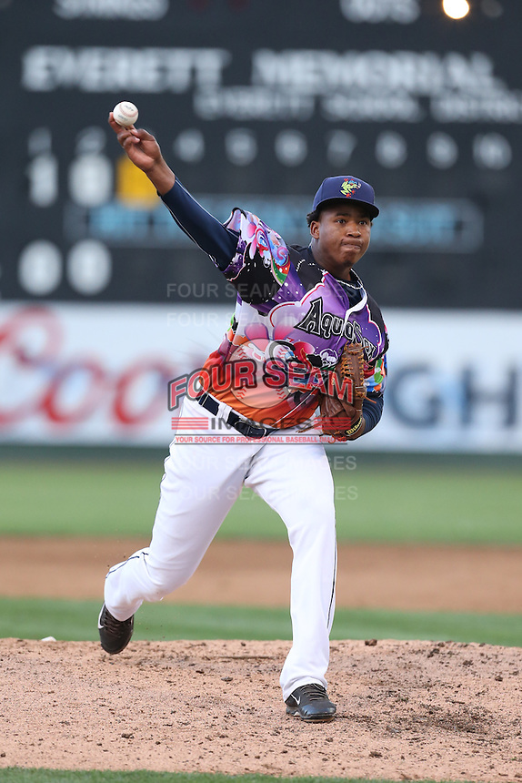 Jefferson Arias (37) of the Everett AquaSox pitches during a game against the Spokane Indians at Everett Memorial Stadium on July 25, 2015 in Everett, Washington. Spokane defeated Everett, 10-1. (Larry Goren/Four Seam Images)
