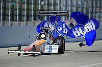 Feb. 10, 2012; Pomona, CA, USA; NHRA top fuel dragster driver Clay Millican during qualifying at the Winternationals at Auto Club Raceway at Pomona. Mandatory Credit: Mark J. Rebilas-