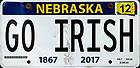 "September 17, 2021; Nebraska license plate ""GO IRISH"" (photo by Matt Cashore/University of Notre Dame)"