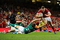 Owen Lane of Wales scores his sides first try during the under armour summer series 2019 match between Wales and Ireland at the Principality Stadium, Cardiff, Wales, UK. Saturday 31st August 2019