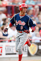 August 1, 2009:  Center Fielder Quintin Berry of the Reading Phillies during a game at Jerry Uht Park in Erie, PA.  Reading is the Eastern League Double-A affiliate of the Philadelphia Phillies.  Photo By Mike Janes/Four Seam Images