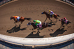 APRIL 5, 2014: Hoppertunity with Mike Smith battles Dublin Up and Kent Desourmeaux and Candy Boy with Gary Stevens during the Santa Anita Derby at Santa Anita Park in Arcadia CA. Alex Evers/ESW/CSM