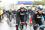 Sky Procycling's Geraint Thomas and Ian Stannard (GBR) as the race restarts in Cogoleto after heavy snow forces the race organizers to abandon part of the race over Passo del Turchino during the 104th edition of the Milan-San Remo cycle race, 17th March 2013 (Photo by Eoin Clarke 2013)