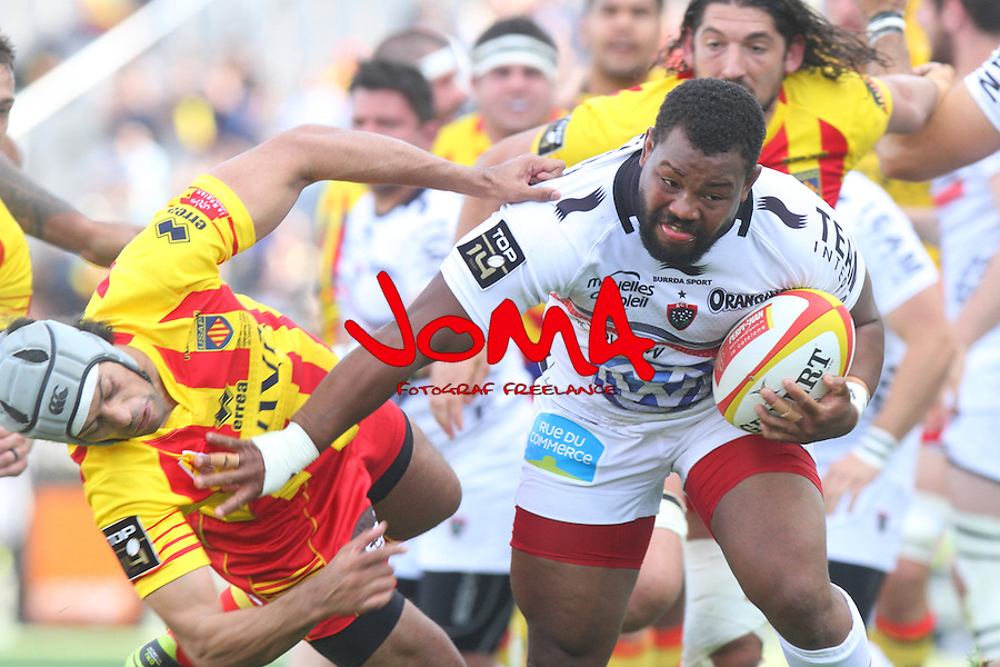 2014.04.19 Barcelona, Spain. Top 14. Usap v Toulon at Estadi Olimpic de BArcelona. Picture show Steffon Armitage in action