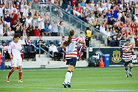 Alex Morgan (13) of the United States (USA) celebrates scoring during the first half against China (CHN) during an international friendly at PPL Park in Chester, PA, on May 27, 2012.