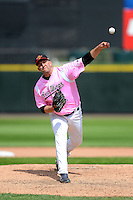Rochester Red Wings pitcher Tyler Robertson #55 during a game against the Columbus Clippers on May 12, 2013 at Frontier Field in Rochester, New York.  Rochester defeated Columbus 5-4 wearing special pink jerseys for Mother's Day.  (Mike Janes/Four Seam Images)