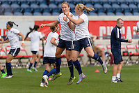 Bridgeview, IL, USA - Sunday, May 29, 2016:  Sky Blue FC defender Kristin Grubka (13) and Sky Blue FC forward Leah Galton (21) before a regular season National Women's Soccer League match between the Chicago Red Stars and Sky Blue FC at Toyota Park. The game ended in a 1-1 tie.