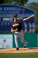 Jupiter Hammerheads starting pitcher Trevor Rogers (30) during a Florida State League game against the Dunedin Blue Jays on May 15, 2019 at Jack Russell Memorial Stadium in Clearwater, Florida.  Jupiter defeated Dunedin 5-1 in seven innings, the first game of a doubleheader.  (Mike Janes/Four Seam Images)