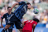 CARSON, CA - FEBRUARY 15: Nick DePuy #20 of the Los Angeles Galaxy heads a ball during a game between Toronto FC and Los Angeles Galaxy at Dignity Health Sports Park on February 15, 2020 in Carson, California.