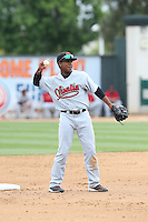 Domingo Leyba (2) of the Visalia Rawhide makes a throw during a game against the Rancho Cucamonga Quakes at LoanMart Field on May 6, 2015 in Rancho Cucamonga, California. Visalia defeated Rancho Cucamonga, 7-2. (Larry Goren/Four Seam Images)