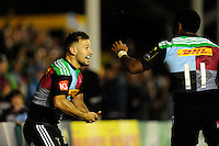 Danny Care of Harlequins celebrates scoring a try and the birth of his child two days ago during the European Rugby Champions Cup  Round 1 match between Harlequins and Castres Olympique at the Twickenham Stoop on Friday 17th October 2014 (Photo by Rob Munro)