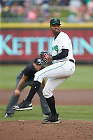 Dayton Dragons starting pitcher Hunter Greene (3) in action against the Bowling Green Hot Rods at Fifth Third Field on June 9, 2018 in Dayton, Ohio. The Hot Rods defeated the Dragons 1-0.  (Brian Westerholt/Four Seam Images)