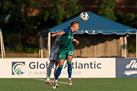 HARTFORD, CT - JULY 10: Richie Schlentz #22 of Hartford Athletic heads the ball during a game between New York Red Bulls II and Hartford Athletics at Dillon Stadium on July 10, 2021 in Hartford, Connecticut.