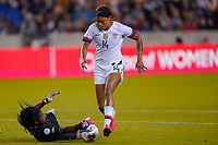 HOUSTON, TX - JANUARY 31: Jessica McDonald #14 of the United States moves with the ball during a game between Panama and USWNT at BBVA Stadium on January 31, 2020 in Houston, Texas.