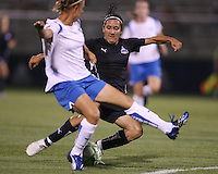 Lisa De Vanna #17 of the Washington Freedom gets off a shot as Nancy Augustyniak Goffi #25 of the Boston Breakers tries to intervene during a WPS match at Maryland Soccerplex on July 29, in Boyds, Maryland. Freedom won 1-0.