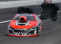Feb 7, 2015; Pomona, CA, USA; NHRA pro stock driver V. Gaines during qualifying for the Winternationals at Auto Club Raceway at Pomona. Mandatory Credit: Mark J. Rebilas-