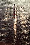 Look down women rowing eight oared racing shell Seattle
