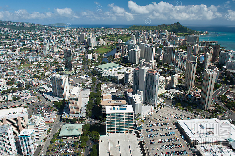 Aerial overlooking the Convention Center towards Diamond Head