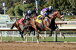 ARCADIA, CA JANUARY 30: #4 Express Train, ridden by Juan Hernandez, wins the San Pasqual Stakes (Grade ll) on January 30, 2021 at Santa Anita Park in Arcadia, CA  (Photo by Casey Phillips/EclipseSportswire/CSM)