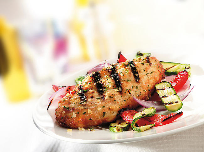 Stock photos of marinaded Chargrill Chicken Fillet with rosat courgette and peppers