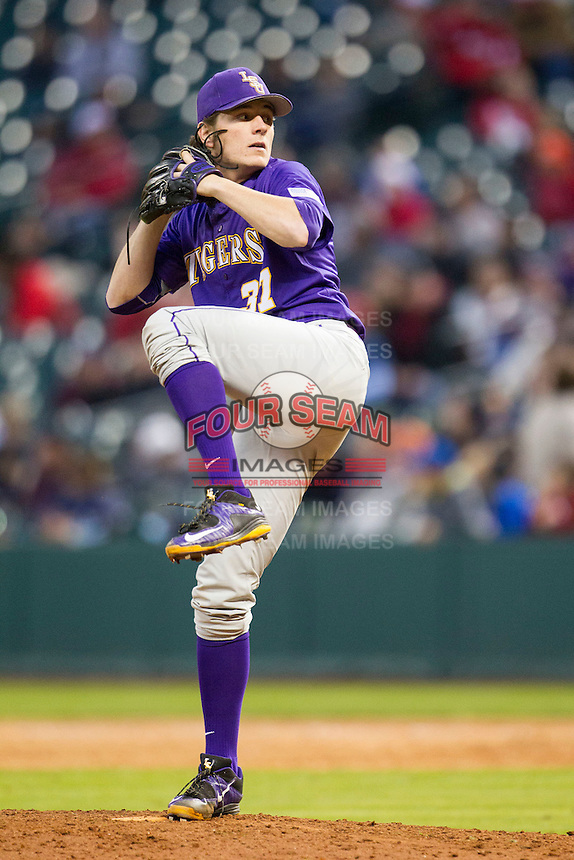 LSU Tigers pitcher Jesse Stallings (37) winds up during the NCAA baseball game against the Baylor Bears on March 7, 2015 in the Houston College Classic at Minute Maid Park in Houston, Texas. LSU defeated Baylor 2-0. (Andrew Woolley/Four Seam Images)