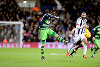 Gylfi Sigurdsson of Swansea City brings a great save out of Goalkeeper Ben Foster of West Bromwich Albion during the Barclays Premier League match between West Bromwich Albion and Swansea City at The Hawthorns on the 2nd of February 2016