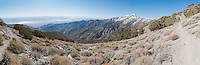 180-degree panorama of the Telescope Peak Trail in Death Valley National Park, California. The Badwater area of Death Valley, 282 feet (86 meters) below sea level, is in the left background. On the right is Telescope Peak, elevation 11,049 feet (3,368 meters).
