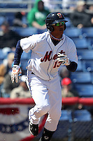 Binghamton Mets outfielder Juan Lagares #13 during a game against the Akron Aeros at NYSEG Stadium on April 7, 2012 in Binghamton, New York.  Binghamton defeated Akron 2-1.  (Mike Janes/Four Seam Images)