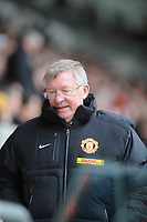 FAO SPORTS PICTURE DESK<br /> Pictured: Manchester United manager Sir Alex Ferguson watching the game from the directors' box. Saturday, 28 April 2012<br /> Re: Premier League football, Swansea City FC v Wolverhampton Wanderers at the Liberty Stadium, south Wales.