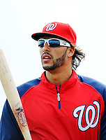 25 February 2012: Washington Nationals' outfielder Michael Morse awaits his turn in the batting cage during the first full squad Spring Training workout at the Carl Barger Baseball Complex in Viera, Florida. Mandatory Credit: Ed Wolfstein Photo