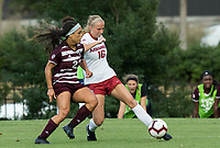 Hawgs Illustrated/BEN GOFF <br /> Emily Russell (16) of Arkansas vs Jordan Hill of Texas A&M in the first half Thursday, Sept. 20, 2018, at Razorback Field in Fayetteville.