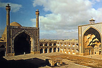 Islamic Architecture:  Isfahan, Iran.  The Masjid-i  Jund Mosque, with four Iwan (prayer hallsz: South Iwan to left, West Iwan at right. 15th -17th Century.