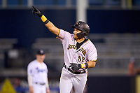 Bradenton Marauders Dariel Lopez (52) points to the bullpen as he rounds the bases after hitting a home run during Game Three of the Low-A Southeast Championship Series against the Tampa Tarpons on September 24, 2021 at George M. Steinbrenner Field in Tampa, Florida.  (Mike Janes/Four Seam Images)