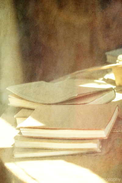 Textured image of old school books at Bodie, CA ghost town