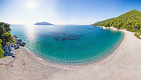 The beach Kastani of Skopelos island from drone, Greece