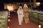 Joseph and Mary walk the steps from Immaculate Conception Church during Sutter Creek's annual interfaith Procession of Las Posadas down the side streets and Main Street of Sutter Creek on a winter's evening...Las Posadas symbolizes the trials which Mary and Joseph endured before finding a place to stay where Jesus could be born, based on the passage in the New Testament, the Gospel of Luke, 2:1-9.