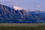 Above NCAR - National Center for Atmospheric Research - the Flatirons formations of the Rocky Mountains, with Longs Peak and Mt. Meeker in the background, CO