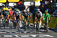 18th July 2021; Paris, France;  VAN AERT Wout (BEL) of JUMBO-VISMA rushes for the finish line and victory ahead of Mark Cavendish during stage 21 of the 108th edition of the 2021 Tour de France cycling race, the stage of 108,4 kms between Chatou and finish at the Champs Elysees in Paris.