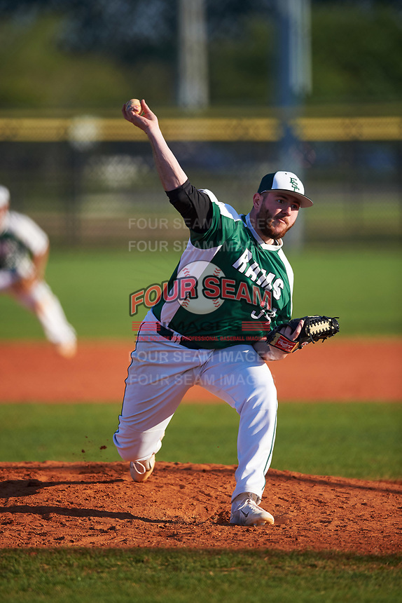 Farmingdale State Rams relief pitcher Joe D'Arco (34) delivers a pitch during the second game of a doubleheader against the FDU-Florham Devils on March 15, 2017 at Lake Myrtle Park in Auburndale, Florida.  FDU-Florham defeated Farmingdale 8-4.  (Mike Janes/Four Seam Images)