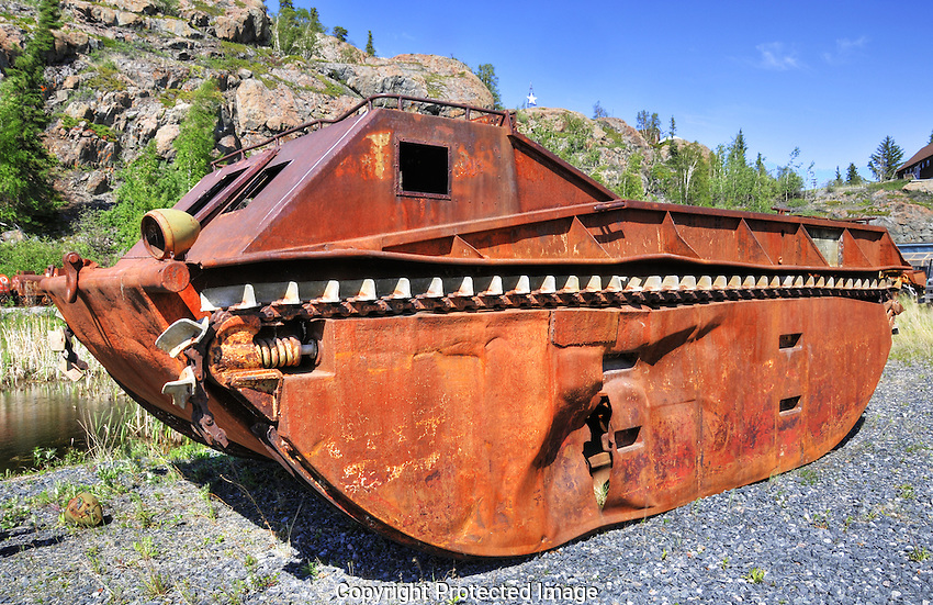 A tracked amphibious vehicle used in the NWT mainly for mineral exploration.
